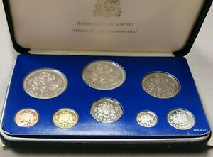 1975 Barbados 8 Coin Proof Set - Struck by The Franklin Mint, Damaged Box/Case