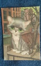 Big Eyed Cat 1970s Lithograph 5x7 Gray & White Stray Cat Kitten Retro Painting