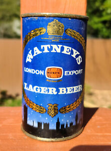 Watney's Lager Beer flat top from England. EMPTY. 11.2 US fld oz.