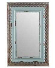 """Large 30"""" Distressed Blue Wood & Metal Mirror Home Wall Decor Shabby Chic New"""