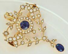 Antico Periodo edoardiano 9 KT Oro Sapphire & Collana Di Perle Ciondolo Spilla c1905