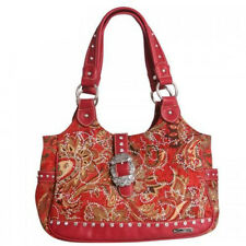 Montana West Western Shoulder Tote Handbag Red CZ Studded Fabric
