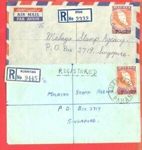 Malaysia Malaya Federation MAP used on IPOH & KUANTAN Registered cover Singapore