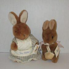 Beatrix Potter Mrs. Rabbit Flopsy bunny dressed Peter vintage plush Eden tagged