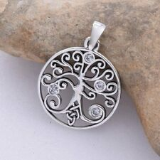 Sterling Silver Celtic Tree Of Life Pendant with CZ stones. Pagan/Wiccan/Druid.