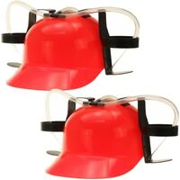 2x Bierhelm Biertrinkerhelm Trinkhelm Mobile Minibar Helm mit Dosenhalter Rot