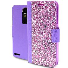 LG M250 K20 Plus Harmony Rock Diamond Fashion Wallet Case Purple