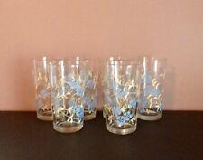 Set Of 6 Vintage Drinking Glasses Blue Flowers Cream Leaves 12 Oz.