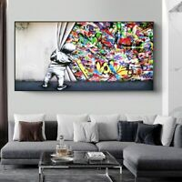 Kids Behind the Curtain Graffiti Art Painting on Canvas Wall Posters Prints Art
