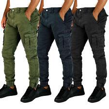 Pantaloni uomo cargo invernali tasche laterali molla caviglia verde nero blu