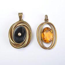 Set Di Due antico Art Deco Pendente, gialla Pietra, Gioielli-moda