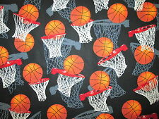 Basketball Sports Basket Ball Double Hoop Cotton Fabric FQ
