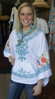 💖 JOHNNY WAS Embroidered JWLA Poncho TUNIC Flowers Cotton White XS $235 💖