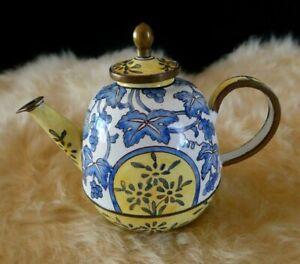 1999 Kelvin Chen No. 1124 Enamel Over Copper Hand Painted Miniature Teapot