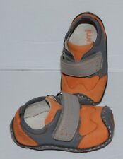 Umi Puggle Orange & Gray Leather Baby Boy Shoes Sz 3.5 *Euc*