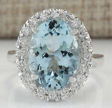 6.65 Carat Natural Aquamarine 14K White Gold Diamond Ring