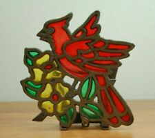 Vintage Cast Iron Metal Stained Glass Napkin Holder Red Bird Cardinal & Flowers