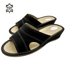 Damen Sommer  Leder Echtleder Hausschuhe Pantoletten Pantoffeln schwarz