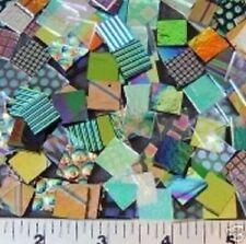 "20 Pieces Cbs Dichroic Pattern 1/2"" x 1/2"" Clear & Black Squares 90 Coe"