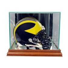 New Glass Mini Helmet Display Case NFL NCAA Walnut Molding FREE SHIPPING Made US