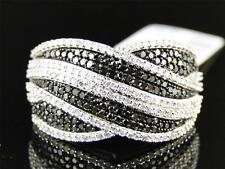 New Ladies 10K White Gold Black/white Diamond Fashion Wedding Band Ring 0.75 Ct