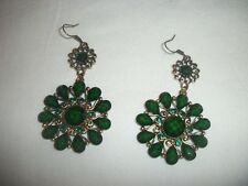 Green Resin and Crystal Flower Earrings