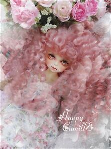BJD Doll 1/4 7-8 Wig Long Curly Afro Disheveled Hair Mohair for Girl Pink