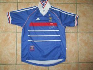 Maillot FRANCE 98 signé ZIDANE COUPE DU MONDE ADIDAS vintage shirt maglia XS 164