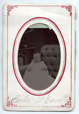 Tintype baby in white baptismal gown c. 1870, original photo; paper frame ID