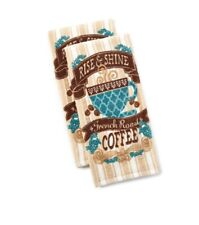 Kitchen Drying Towels Rise and Shine French Coffee Theme Set of 2 Blue and Brown