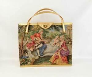 "Vintage Tyrolean N.Y. Metallic Gold Tapestry Bag Purse Large Oversized 17"" X 15"""