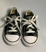 Converse Chuck Taylor All*Star Low Black Canvas Shoes Infant Toddler Size  8 EUC