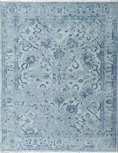 Blue Abstract Art Rug Modern and Geometric Hand Knotted, Abstract 8x10 -7127