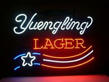 """New Yuengling Lager Us Flag Neon Light Sign 17""""x14"""" Real Glass Lamp Beer Bar"""