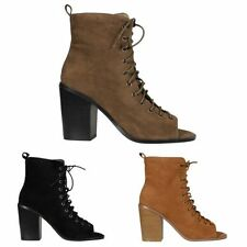 Patternless Faux Suede Lace-up Casual Heels for Women