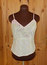 MONSOON white green purple striped floral camisole vest top summer holiday 14 42