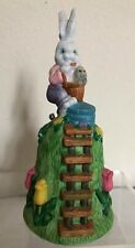 Easter Bunny Ceramic Bell Brightly Painted Tulips Carrying Basket W/ Baby Bunn