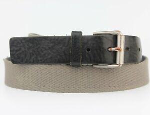 Grey Farbic and Black Leather End Trims Vintage Retro Belt Size M/L