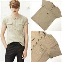 NEW Balmain Men Sahara Combat PADDED Cotton Tan Biker T Shirt Top Size Large L