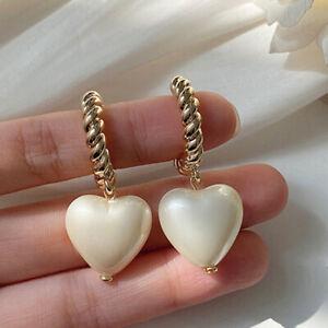 Womens Long Twisted Heart Pearl Hoop Earrings Dangle Earrings 925 Silver Gold