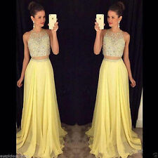 2 Pieces Yellow Prom Dress Pageant Beads Cocktail Ball Gown Party Gowns Custom