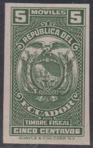 ECUADOR 1936 REVENUES COAT OF ARMS OLAMO #334 IMPERF GREEN PROOF UNUSED VF