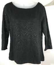 Talbots Shirt Womens Medium Lace 3/4 Sleeve Top Textured Zip Back Round Neck