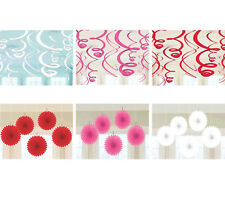 HAPPY VALENTINE Party Supplies ~ Hanging Swirl Decorations, Mini Paper Fan Red