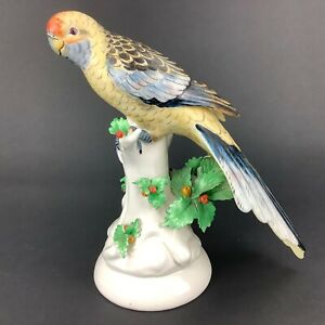 """Mottahedeh Italy 9 1/4"""" Tall Parrot Figurine Yellow Orange"""