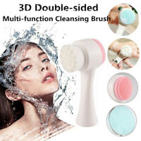 1x Double-sided Face Cleansing Brush Soft Silicone Facial Pore Cleaning Brush♢