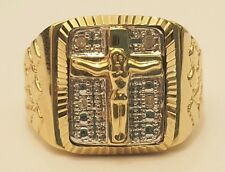 10k Yellow Gold Nugget Jesus Diamond Mens Ring Band Fashion Religious