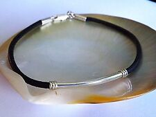 .925 Sterling Silver and 3 mm Natural Black Leather Cord Bracelet