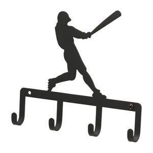 Sports Baseball Player Key Hook Holder Rack Home Decor Metal Wrought Iron