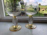 "Theresienthal PIEROTH Amber Crystal -- Pair of Wine Glasses 4 1/4"""